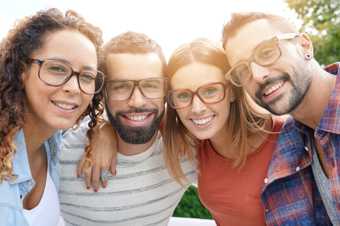 Group of people wearing glasses